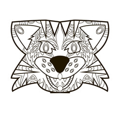 Line vector image for art therapy with totem tiger