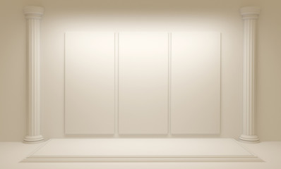 White background with architectural interiors