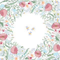 Square frame with contour poppy, wild flowers and herbs on white. Floral pattern for your wedding design, floral greeting cards, posters.