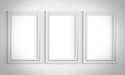 Stylish background with white walls of the gallery and picture frames