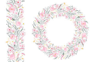 Floral spring elements with cute bunches of poppy and wild flowers. Endless pattern brush. For romantic wedding design, announcements, greeting cards, posters, advertisement.
