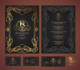 Vector restaurant menu template and symbol.