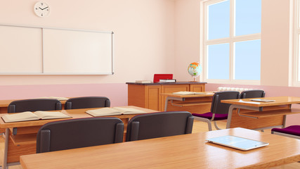 The interior of classroom.