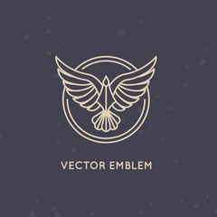 Vector linear logo design template - eagle emblem