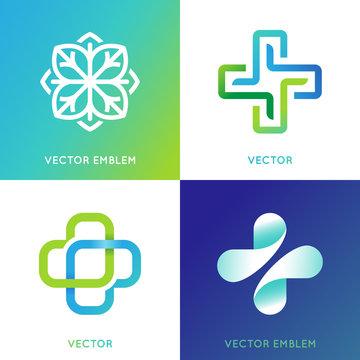 Vector set of abstract logos and emblems - alternative medicine