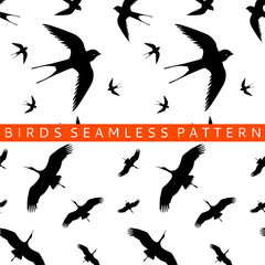stork swallow seamless pattern