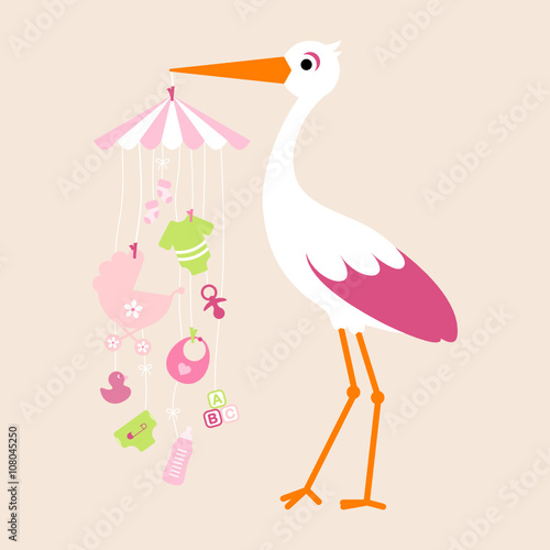 quotstork mobile baby girl symbols hangingquot stock image and