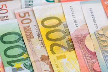 current Euro banknotes as background