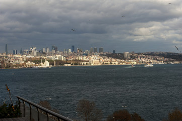 One of the most glamorous palaces in the world Dolmabahce Palace Istanbul. View from Bosporus.