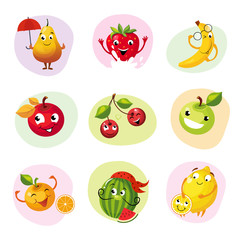 Funny Fruit Caracters Set