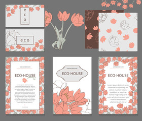 Business or other event painted floral background. Design stationery set in vector format. Corporate design. Delicate tulips