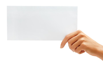 Hand holding White blank envelope, mock up. High resolution product