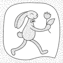 Black and white greeting card with rabbit and flower in its paw