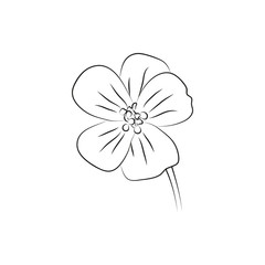 geranium flower simple black lined icon on white background