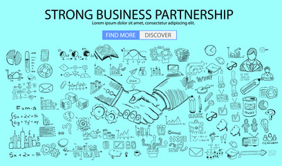 Strong Business Partnership concept wih Doodle design style