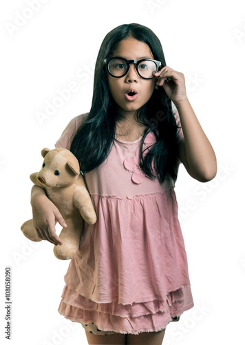 dc08d0f523 Portrait of cute girl Wearing Eyeglasses, Showing Oops Expressi ...