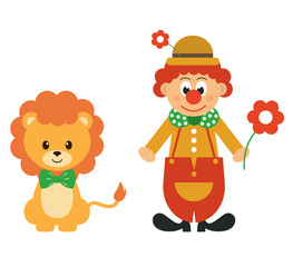 cartoon lion and clown with flower