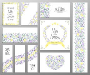 Wedding invitation, thank you card, save the date cards. set. RSVP card