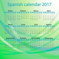 Spanish calendar 2017 on blue background