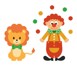 cartoon lion and clown with balls