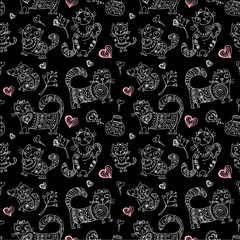 seamless pattern with different cute animals