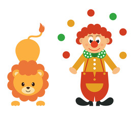 lion and clown with balls