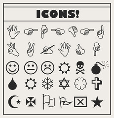 set of vector Universal Outline Icons For Web and Mobile. Smiles, hands, religion, skull, bomb