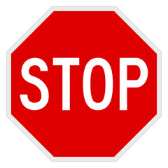 Vector illustration of a stop road/traffic sign.