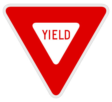 Vector illustration of a yield road/traffic sign.