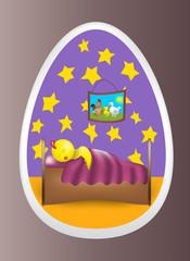 Цыпленок спит в яйце