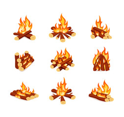 Set of campfires isolated on white background. Bright bonfires in cartoon style.