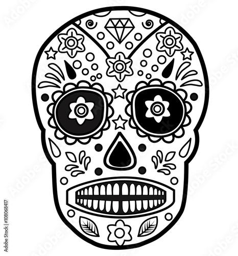 Mexican skull vector for coloring teschio messicano da for Teschi da disegnare