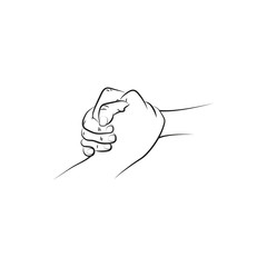 Outline illustration of a firm (helping, rescuing) handshake.