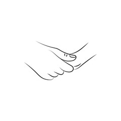 illustration vector drawn female and a male person holding hands