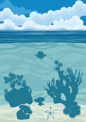 underwater landscape background with silhouettes of coral