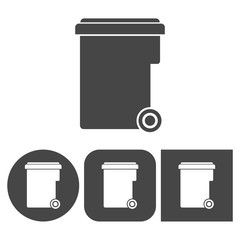 Trash bin - vector icons set