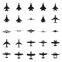 Different monochrome vector airplanes icon set
