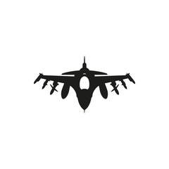 black Fighter Jet icon on white background