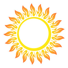 Decorative vector bright colorful sun symbol