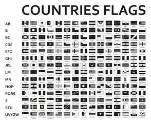 alphabetically sorted monochrome or black flags of the world with official and detailed emblems