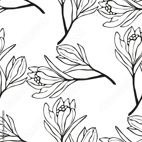 Spring Flowers Seamless Pattern Sketch Style Outline