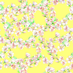 Cherry, apple, flowers. Watercolor seamless pattern.