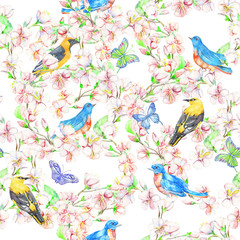 Cherry, apple, flowers, bird. Watercolor seamless pattern.