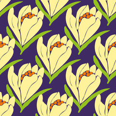 Spring flowers seamless pattern. Vector illustration