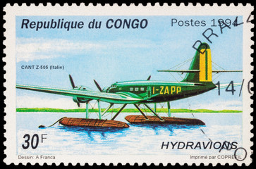 Italian seaplane CANT Z.505 on postage stamp