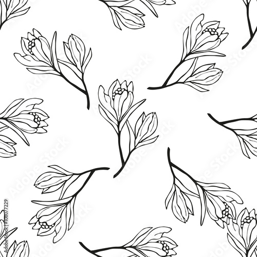 Spring flowers seamless pattern sketch style outline flowers spring flowers seamless pattern sketch style outline flowers mightylinksfo Gallery