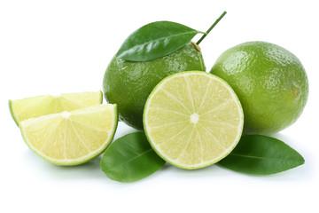 Limone Limonen Limette Limetten bio geschnitten Früchte Freiste