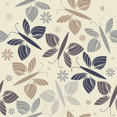 Seamless pattern with stylish flowers and butterflies