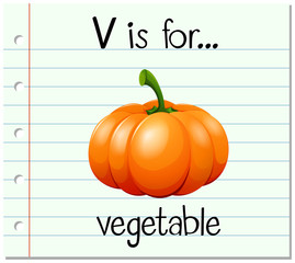 Flashcard letter V is for vegetable