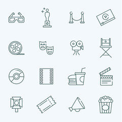 Vector outline movie icons set
